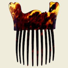 Victorian hair comb faux tortoiseshell free form design hair accessory