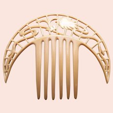 Art Deco French ivory hair comb crescent shape hair accessory