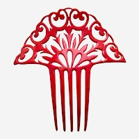 Hot red celluloid hair comb huge Art Deco openwork design hair ornament