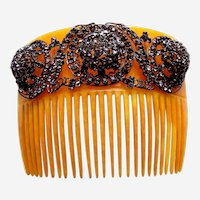 Victorian hair comb amber celluloid rhinestone encrusted hair accessory