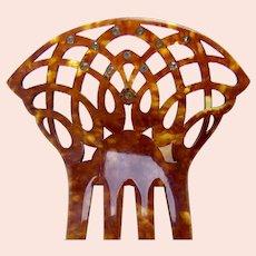 Art Deco hair comb faux tortoiseshell rhinestone hair ornament