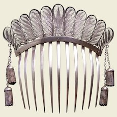Victorian Moorish style hair comb with dangles hair accessory
