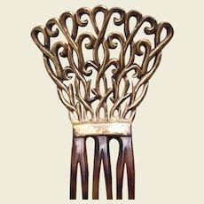 Auguste Bonaz signed hair comb Art Deco gilded hair ornament