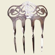 Art Nouveau hair comb sterling silver 1901 hair accessory