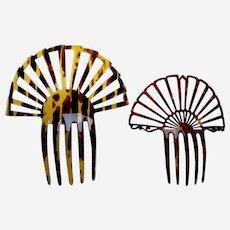 Two Art Deco hair combs faux tortoiseshell sunray style hair ornaments