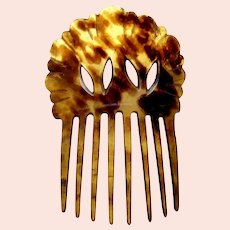Victorian Spanish hair comb steer horn openwork hair accessory
