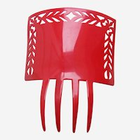 Art Deco hot red hair comb Spanish style celluloid headpiece