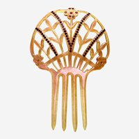 Art Deco Spanish style hair comb with rhinestone trim slide