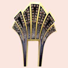 Art Deco rhinestone hair comb celluloid hair accessory