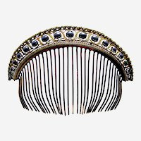 Regency tiara hair comb with faux pearls hair ornament