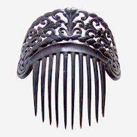 Victorian hair comb dyed steer horn mourning hair accessory