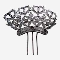 Late Victorian hair comb silver tone metal filigree hair pin