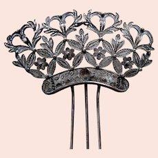 Late Victorian hair comb silver tone metal filigree hair pin
