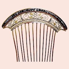Georgian hair comb fire gilded brass filigree hair accessory