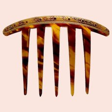 Late Victorian hair comb faux tortoiseshell with gilding hair ornament
