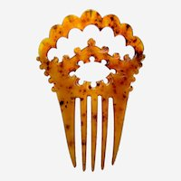 Victorian steer horn hair comb carved open work hair ornament