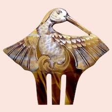 Art Nouveau hair comb gilded figural bird hair accessory