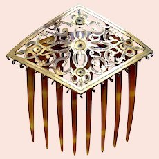 Victorian hinged hair comb lozenge shaped brass AS FOUND