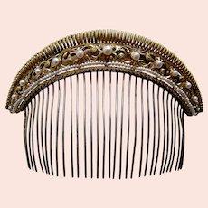 Georgian tiara hair comb fire gilded brass faux pearls headdress