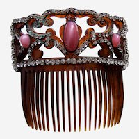Victorian hair comb faux tortoiseshell pink glass cabochon hair accessory