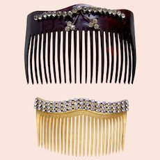 Two late Victorian hair combs with rhinestone trim hair accessory