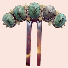 Victorian real scarab beetle hair comb Egyptian Revival hair ornament