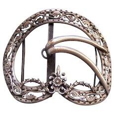 Large Art Nouveau bronze metal belt buckle ornament