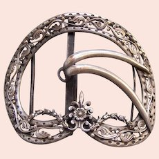 Large Art Nouveau bronze metal belt buckle ornament