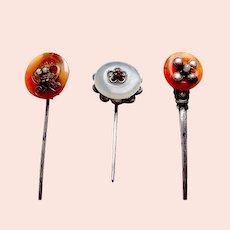 Three Oriental jadeite or carnelian hair pins or headdress ornaments (AAK)