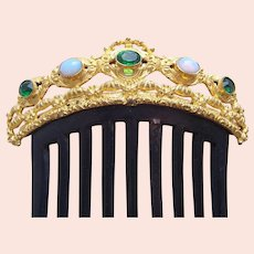 Victorian jewelled hair comb emerald and opal paste hair ornament