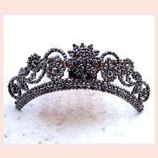 Victorian tiara hair comb cut steel hinged hair ornament