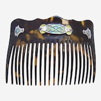 Art Nouveau hair comb faux tortoiseshell enamel on silver hair ornament