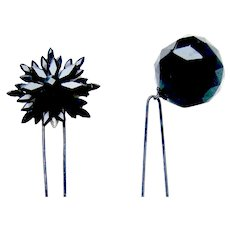 Two French jet mourning hair pins Victorian hair accessories