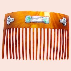 Art Nouveau sterling horn hair comb 1908 enamel hair ornament