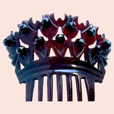 Victorian mourning hair comb dyed steer horn French jet hair accessory