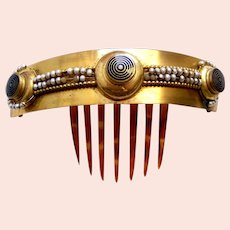 Victorian hinged hair comb enamel original pearls hair accessory