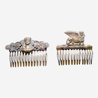 Two Piddidly Links hair combs in Egyptian Revival style