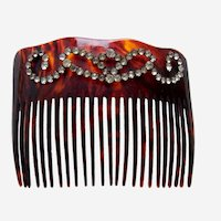Late Victorian faux tortoiseshell hair comb rhinestone trim hair accessory