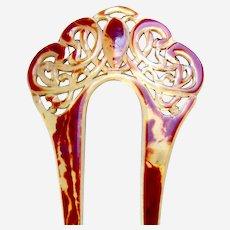 Art Nouveau hair comb or hair pin two toned celluloid hair ornament