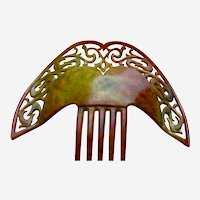 Large Art Deco hair comb in celluloid faux tortoiseshell hair ornament