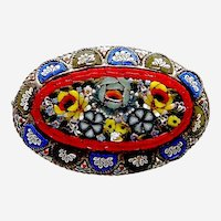 Victorian micro mosaic brooch Murano style floral design