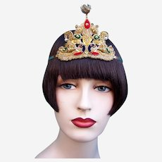 Art Deco oriental style headband embroidered sequin fabric headdress