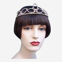Rhinestone bridal tiara mid century classic design headdress