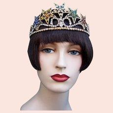 Mid century tiara multi colour star motif headdress headpiece crown