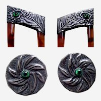 Pair Art Nouveau hair combs with matching buttons peacock stones