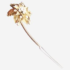Aigrette hair ornament goldtone metal filigree flower hair comb
