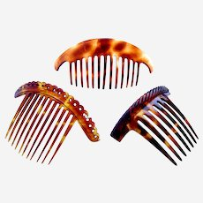 Three vintage hair combs faux tortoiseshell effect hair accessories