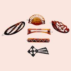 Six vintage hair barrettes faux tortoiseshell hair accessories