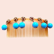 Art Deco hair comb with blue dangle beads hair ornament
