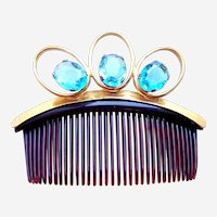 Mid century hair comb with large blue faceted stones hair ornament